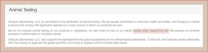 clinique animal policy