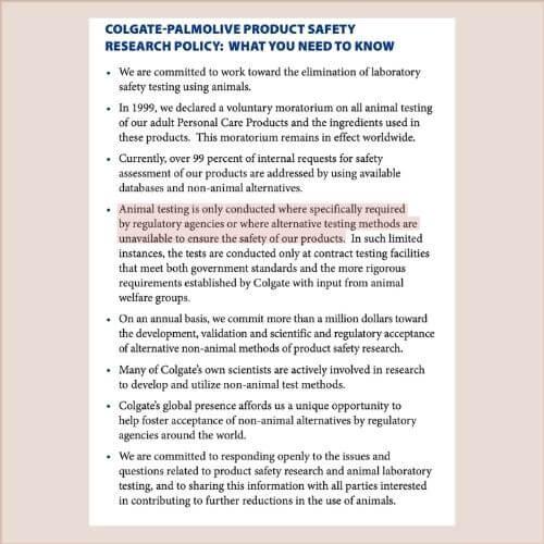 colgate animal policy