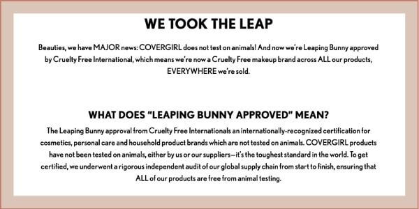 covergirl animal policy