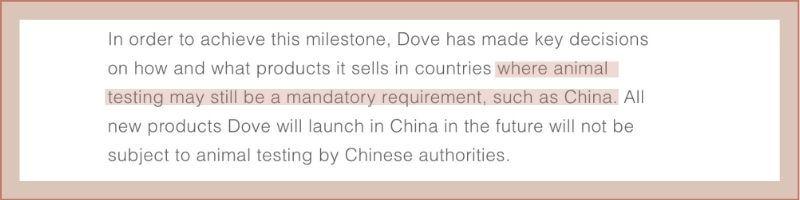 dove china statement