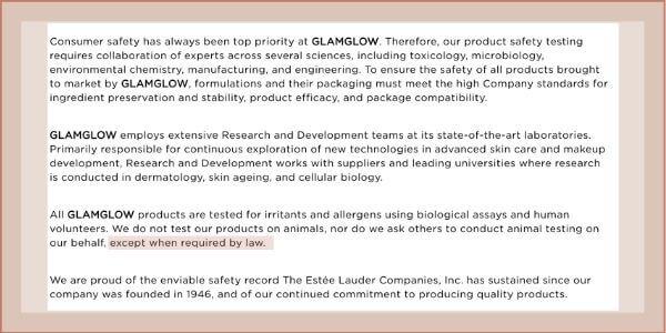 glamglow animal policy