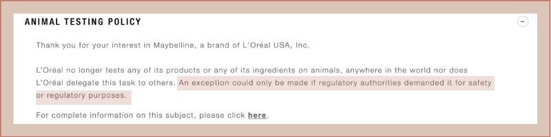 maybelline animal testing policy