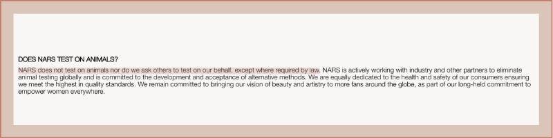 nars animal testing policy
