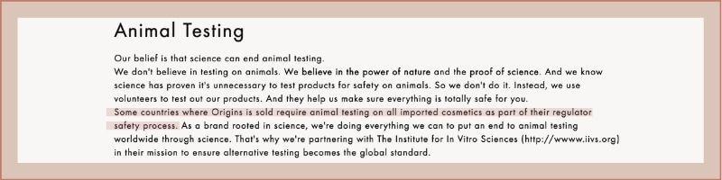 origins animal testing policy