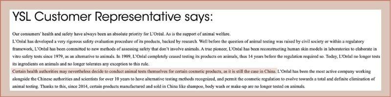 ysl beauty animal testing policy